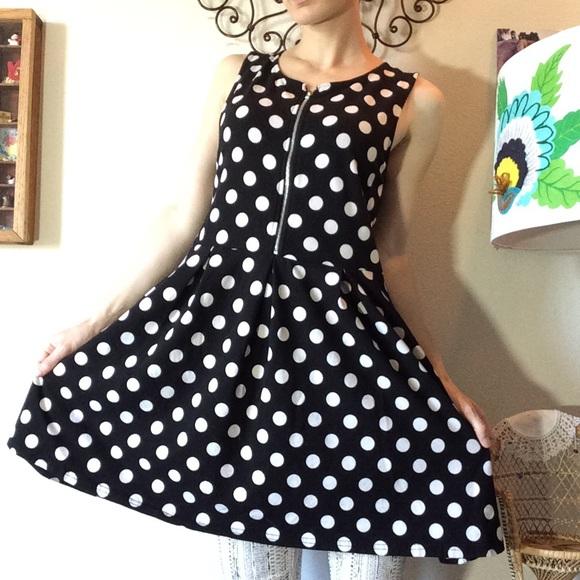 Divided Dresses & Skirts - Ready for Disneyland in this Polka-Dot Mini Dress